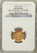 Liberty Quarter Eagles, 1854-O $2 1/2 -- Obv Improperly Cleaned -- NGC Details. AU. NGCCensus: (28/353). PCGS Population (41/131). Mintage...