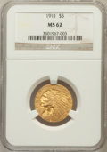 Indian Half Eagles: , 1911 $5 MS62 NGC. NGC Census: (3313/1363). PCGS Population(2100/1383). Mintage: 915,000. Numismedia Wsl. Price for problem...