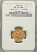 Three Dollar Gold Pieces: , 1874 $3 -- Improperly Cleaned -- NGC Details. AU. NGC Census:(103/2317). PCGS Population (179/1718). Mintage: 41,800. Numi...