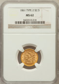 Liberty Quarter Eagles, 1861 $2 1/2 New Reverse, Type Two MS62 NGC....