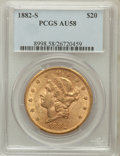 Liberty Double Eagles: , 1882-S $20 AU58 PCGS. PCGS Population (242/761). NGC Census:(379/776). Mintage: 1,125,000. Numismedia Wsl. Price for probl...