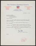 Football Collectibles:Others, 1955 Bert Bell Signed Letter - National Football League Letterhead....