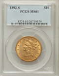Liberty Eagles: , 1892-S $10 MS61 PCGS. PCGS Population (63/141). NGC Census:(74/106). Mintage: 115,500. Numismedia Wsl. Price for problem f...