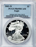 Modern Bullion Coins, 2003-W $1 Silver Eagle PR69 Deep Cameo PCGS. PCGS Population(25/9818). NGC Census: (19/21851). Numismedia Wsl. Price for ...