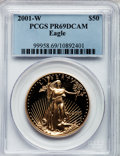Modern Bullion Coins: , 2001-W G$50 One-Ounce Gold Eagle PR69 Deep Cameo PCGS. PCGSPopulation (1502/93). NGC Census: (1053/494). Numismedia Wsl. ...