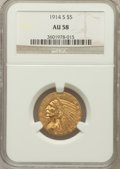 Indian Half Eagles: , 1914-S $5 AU58 NGC. NGC Census: (537/524). PCGS Population(216/440). Mintage: 263,000. Numismedia Wsl. Price for problem f...