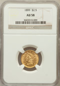Liberty Quarter Eagles: , 1899 $2 1/2 AU58 NGC. NGC Census: (17/750). PCGS Population(42/680). Mintage: 27,200. Numismedia Wsl. Price for problem fr...