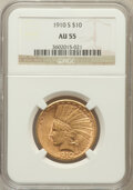 Indian Eagles: , 1910-S $10 AU55 NGC. NGC Census: (185/1072). PCGS Population(262/999). Mintage: 811,000. Numismedia Wsl. Price for problem...