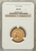 Indian Half Eagles: , 1916-S $5 AU55 NGC. NGC Census: (192/1541). PCGS Population(169/994). Mintage: 240,000. Numismedia Wsl. Price for problem ...