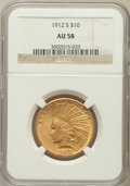 Indian Eagles: , 1912-S $10 AU58 NGC. NGC Census: (370/289). PCGS Population(175/342). Mintage: 300,000. Numismedia Wsl. Price for problem ...