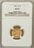 Liberty Quarter Eagles: , 1852 $2 1/2 MS62 NGC. NGC Census: (235/153). PCGS Population(107/123). Mintage: 1,159,681. Numismedia Wsl. Price for probl...