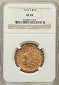 Indian Eagles: , 1916-S $10 XF45 NGC. NGC Census: (4/783). PCGS Population (5/840).Mintage: 138,500. Numismedia Wsl. Price for problem free...