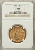 Indian Eagles: , 1908-S $10 AU55 NGC. NGC Census: (137/351). PCGS Population(96/322). Mintage: 59,850. Numismedia Wsl. Price for problem fr...