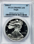 Modern Bullion Coins: , 2000-P $1 Silver Eagle PR69 Deep Cameo PCGS. PCGS Population(7387/404). NGC Census: (17626/1878). Numismedia Wsl. Price f...