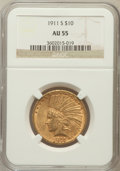 Indian Eagles: , 1911-S $10 AU55 NGC. NGC Census: (56/194). PCGS Population(53/184). Mintage: 51,000. Numismedia Wsl. Price for problem fre...