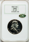 Proof Franklin Half Dollars, 1963 50C PR65 Cameo NGC. Gold CAC. NGC Census: (552/9354). PCGSPopulation (242/1575). Numismedia Wsl. Price for problem f...
