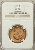 Indian Eagles: , 1908-S $10 XF45 NGC. NGC Census: (60/607). PCGS Population(62/532). Mintage: 59,850. Numismedia Wsl. Price for problem fre...