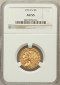 Indian Half Eagles: , 1913-S $5 AU55 NGC. NGC Census: (359/1024). PCGS Population(159/464). Mintage: 408,000. Numismedia Wsl. Price for problem ...