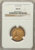 Indian Half Eagles: , 1914-S $5 AU55 NGC. NGC Census: (185/1061). PCGS Population(124/656). Mintage: 263,000. Numismedia Wsl. Price for problem ...