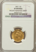 Three Dollar Gold Pieces, 1857 $3 -- Mount Removed, Bent -- NGC Details. XF. NGC Census: (12/548). PCGS Population (14/314). Mintage: 20,891. Numisme...