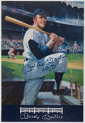 Baseball Collectibles:Photos, Mickey Mantle Signed Oversized Menu....