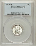 Mercury Dimes: , 1930-S 10C MS65 Full Bands PCGS. PCGS Population (155/78). NGCCensus: (25/15). Mintage: 1,843,000. Numismedia Wsl. Price f...