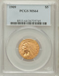 Indian Half Eagles: , 1909 $5 MS64 PCGS. PCGS Population (389/96). NGC Census: (404/73).Mintage: 627,138. Numismedia Wsl. Price for problem free...