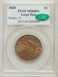 Large Cents, 1820 1C Large Date MS65 Brown PCGS. CAC. N-13, R.1....