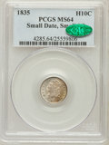 Bust Half Dimes, 1835 H10C Small Date, Small 5C MS64 PCGS. CAC. V-7, LM-10, R.1....
