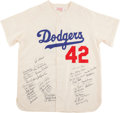 Baseball Collectibles:Uniforms, Brooklyn Dodgers Signed Jersey With 45 Signatures. ...