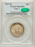 Standing Liberty Quarters, 1917-D 25C Type One MS64 Full Head PCGS. CAC....