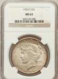 Peace Dollars: , 1924-S $1 MS63 NGC. NGC Census: (736/947). PCGS Population(1410/1235). Mintage: 1,728,000. Numismedia Wsl. Price for probl...