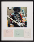 Music Memorabilia:Autographs and Signed Items, Jimi Hendrix Experience Autograph Set and Photo (1967)....