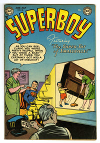 """Superboy #26 Davis Crippen (""""D"""" Copy) pedigree (DC, 1953) Condition: FN+. Win Mortimer cover. Curt Swan and He..."""