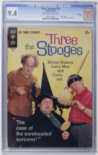 Three Stooges #23 File Copy (Gold Key, 1965) CGC NM 9.4 Off-white to white pages. Photo cover. Little Monsters backup st...