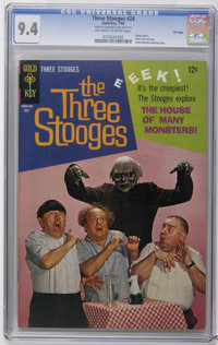 Three Stooges #24 File Copy (Gold Key, 1965) CGC NM 9.4 Off-white to white pages. Photo cover. Back cover pin-up. Little...