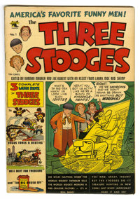 Three Stooges #1 (St. John, 1953) Condition: VG+. Joe Kubert and Norman Maurer appear on the first page. Maurer cover. K...