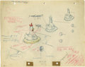 "Animation Art:Production Drawing, ""Swooner Crooner"" Animation Production Drawing Original Art (WarnerBros., 1944). Things are rolling at the Flockheed Eggcra..."