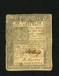 Colonial Notes:Delaware, Delaware January 1, 1776 1s Extremely Fine. A single horizontal fold and some other handling is found on this attractive Del...
