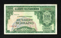 Military Payment Certificates:Series 701, Austria Allied MPC 100 Schilling 1944 Pick 110a Choice About New.. ...