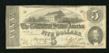 """Confederate Notes:1863 Issues, T60 $5 1863 PF-31. This $5 has pencilled on the back, """"? Unlisted.No Series"""" on the back. This is a PF-31/Criswell 463. C..."""
