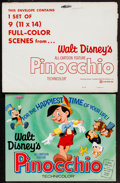 "Movie Posters:Animation, Pinocchio (Buena Vista, R-1971). Lobby Card Set of 9 (11"" X 14"").Animation.. ... (Total: 10 Items)"