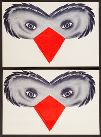 """The Birds (Universal, 1963). Promotional Masks (2) (6"""" X 9""""). Hitchcock. ... (Total: 2 Items)"""