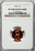 Proof Lincoln Cents, 1999-S 1C PR70 Red Ultra Cameo NGC. NGC Census: (432). PCGSPopulation (191). Numismedia Wsl. Price for problem free NGC/P...
