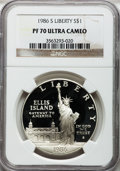 Modern Issues: , 1986-S $1 Statue of Liberty Silver Dollar PR70 Ultra Cameo NGC. NGCCensus: (333). PCGS Population (219). Mintage: 6,414,63...