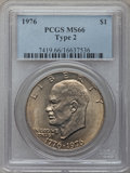 Eisenhower Dollars: , 1976 $1 Type Two MS66 PCGS. PCGS Population (441/9). NGC Census: (294/3). Mintage: 113,318,000. Numismedia Wsl. Price for p...