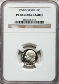 Proof Roosevelt Dimes, (2)1998-S 10C Silver PR70 Ultra Cameo NGC. ... (Total: 2 coins)