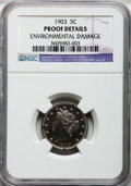 Proof Liberty Nickels: , 1903 5C -- Environmental Damage -- NGC Details. Proof. NGC Census:(0/456). PCGS Population (1/478). Mintage: 1,790. Numism...