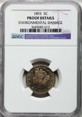Proof Liberty Nickels, 1893 5C -- Environmental Damage -- NGC Details. Proof. NGC Census:(0/334). PCGS Population (1/421). Mintage: 2,195. Numism...