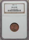 Indian Cents: , 1882 1C MS63 Red and Brown NGC. NGC Census: (35/280). PCGSPopulation (75/313). Mintage: 38,581,100. Numismedia Wsl. Price ...